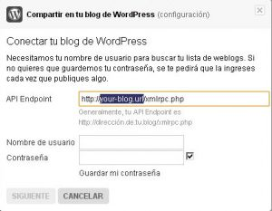 Conectar Flickr y WordPress | Datos de WordPress: En la url modifica solo la parte seleccionada