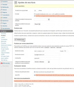 WordPress: Ajustes de Escritura