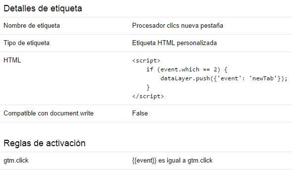 tag manager procesador clics nueva pestana