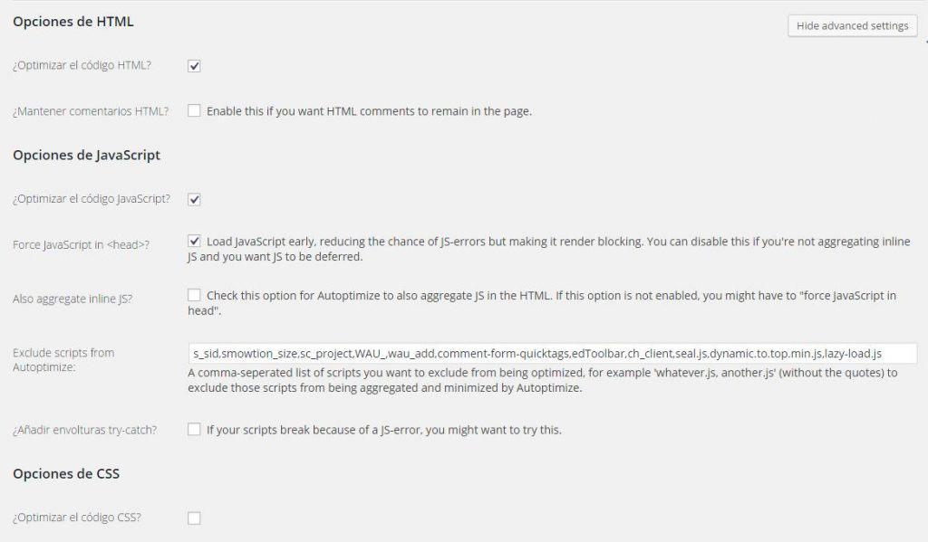 Autoptimize Velocidad de carga en WordPress
