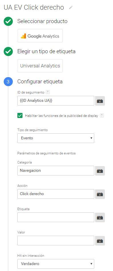 Evento Analytics GTM: click derecho con el ratón
