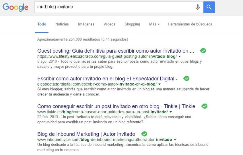 Resultados Uso Operador inurl Blog Invitado