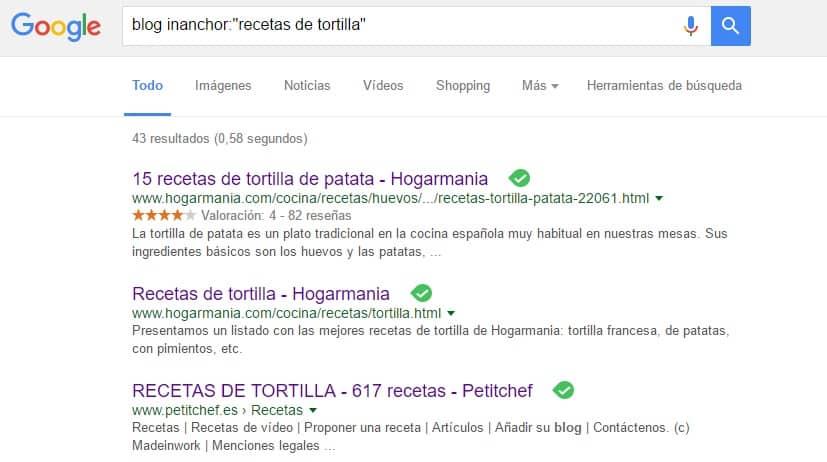 Ejemplo Uso Operador inanchor Recetas Tortilla