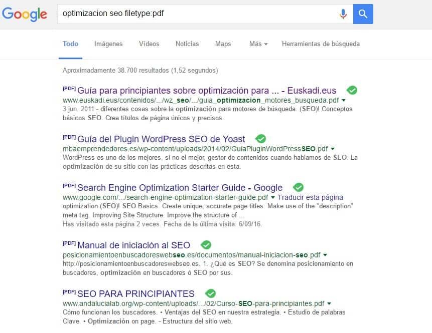 resultados Uso Operador filetype optimización seo filtro pdf