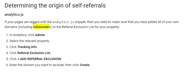 Google Analytics self referral problem