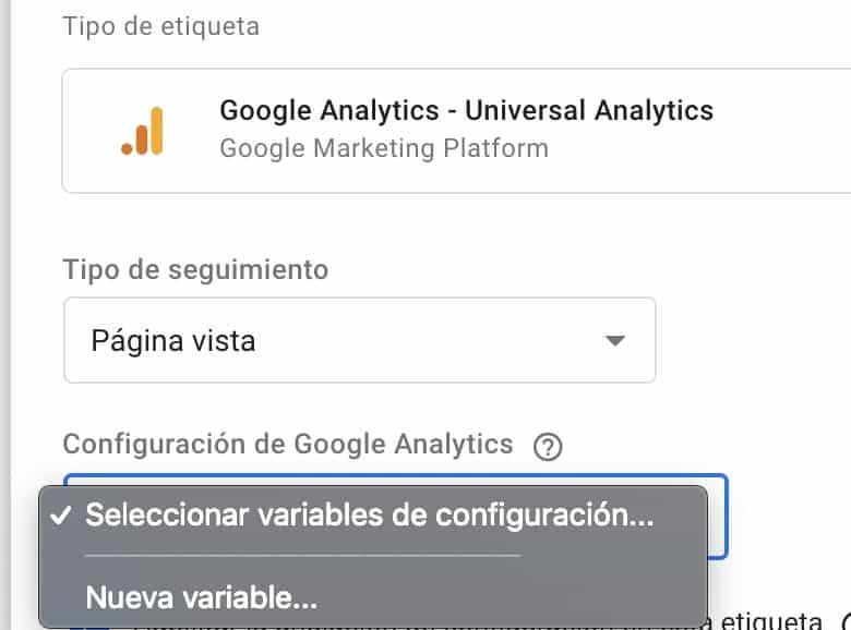 Cómo crear variable configuración de Analytics con Tag Manager