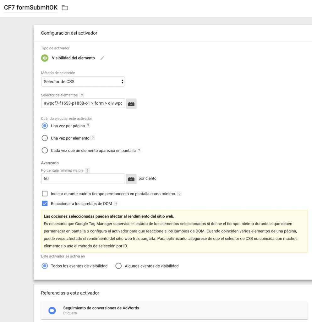 Cómo medir formularios enviados con Contact Form 7 y Google Tag Manager