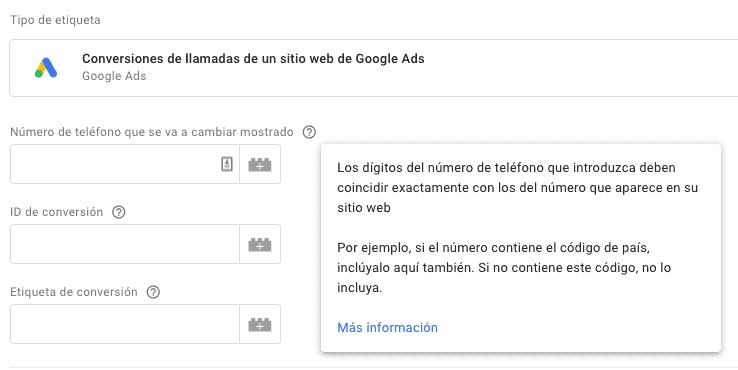 Conversiones de llamada de Google Ads con Google Tag Manager