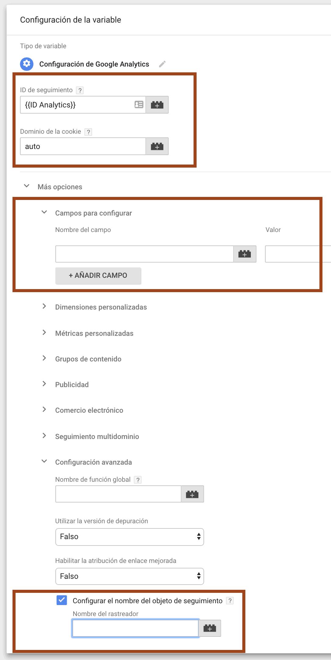 Cómo reconocer configuración comando create Google Analytics en Tag Manager