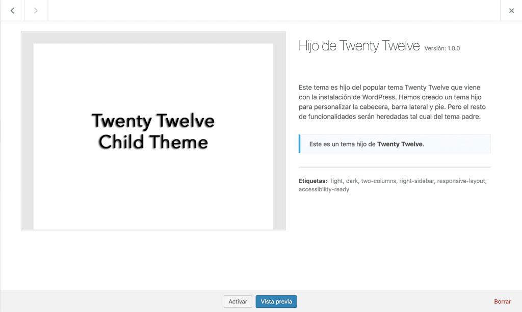 Child Theme con Imagen