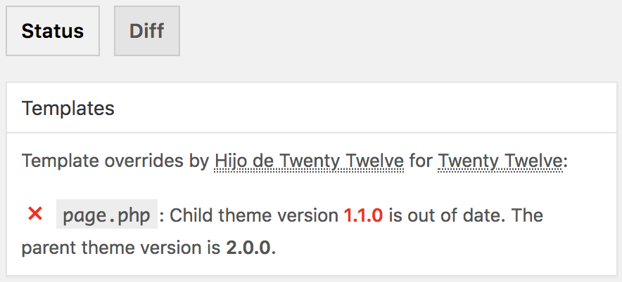 Plugin Child Theme Check