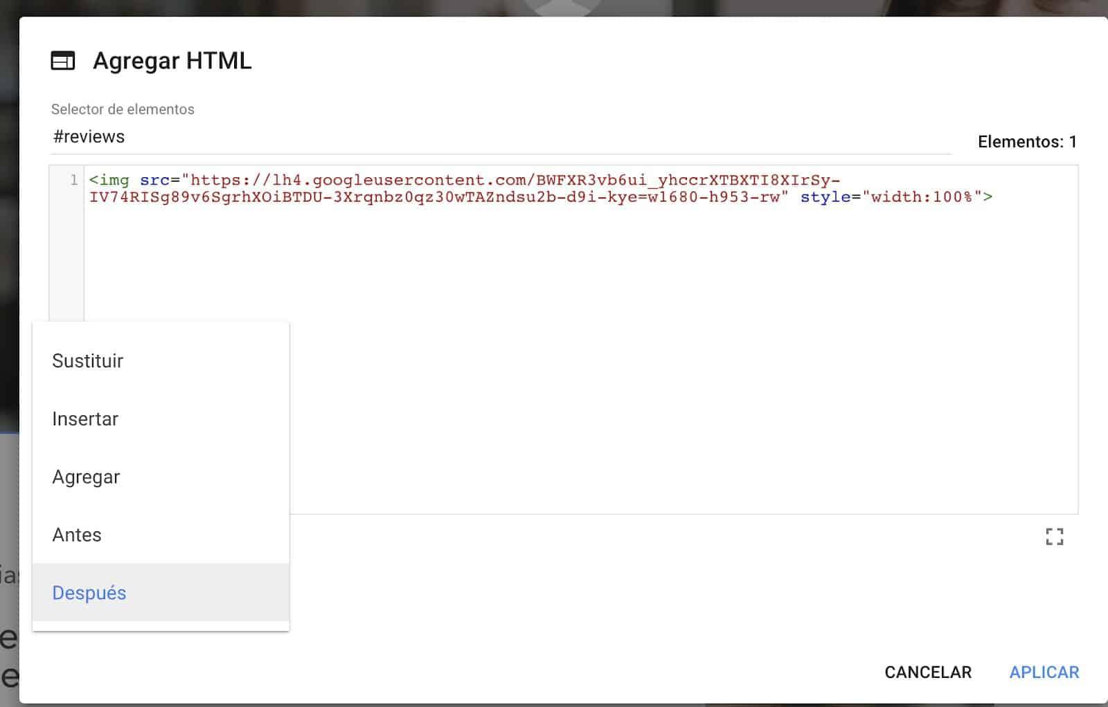 google-optimize-agregar-html